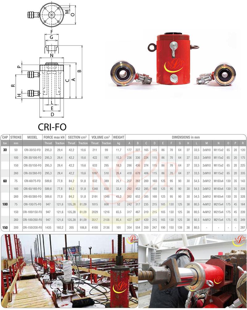 Kích thủy lực rỗng 150 tấn CRI-150/200-FO